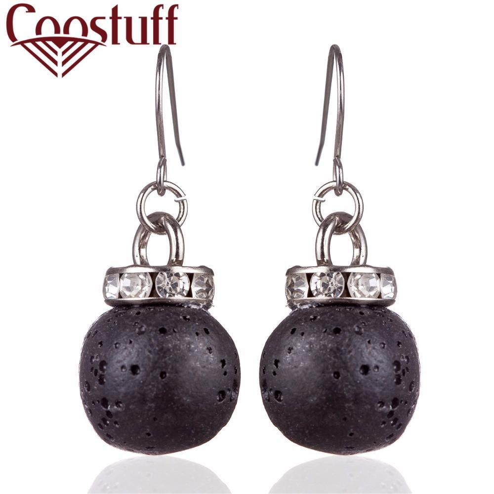 orecchini anting-anting wanita hitam asli lava batu manik anting-anting panjang perak pendientes brincos anting-anting panjang perhiasan