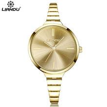 Women Watches Casual LIANDU Top Brand Watches Fashion Luxury Gold Thin Band Dress Bracelet Quartz Wristwatches Relojes Hombre цена и фото