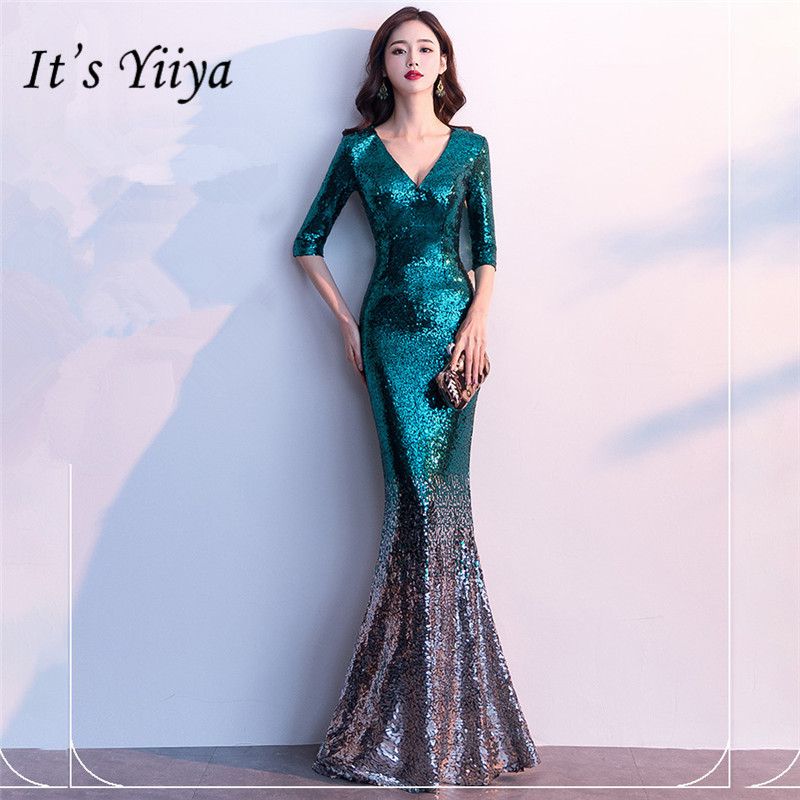 It's Yiiya Sequined Prom Dress V-neck Half Sleeve Long Shinny Party Gowns Floor-length Zipper Back Mermaid Evening Dresses C077