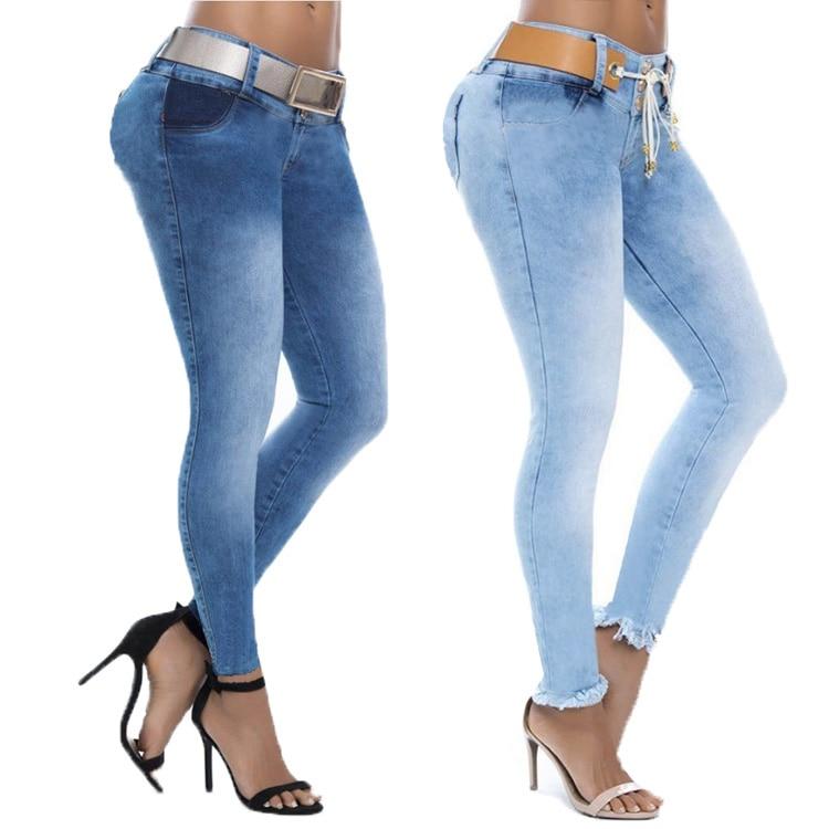 S-3XL Skinny Low Waist Pencil Pants Women Stretch Sexy Denim   Jeans   Plus Size Trousers