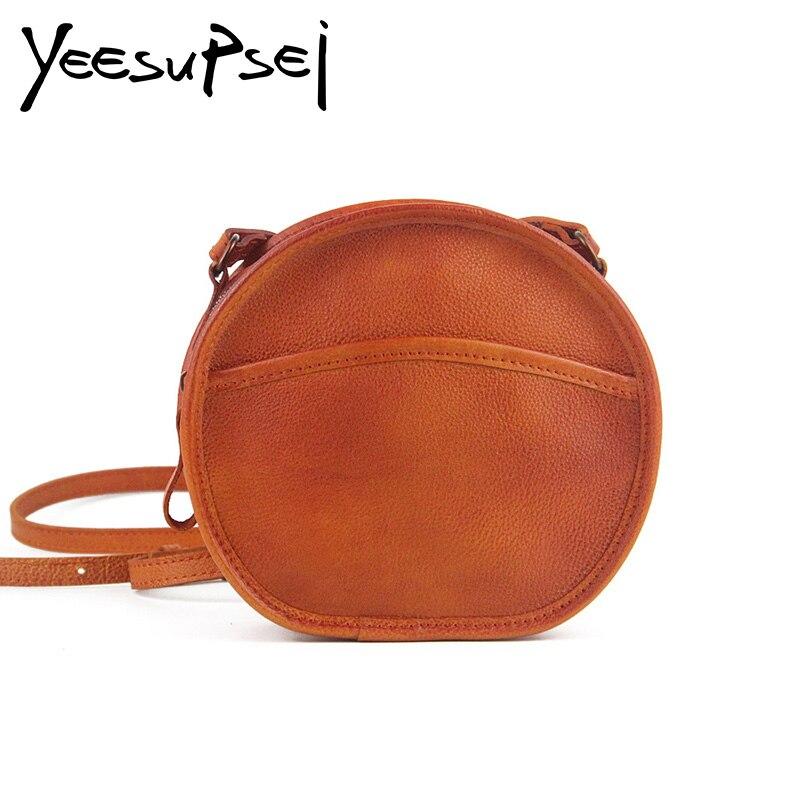 YeeSupSei mode femmes Mini sac rond en cuir véritable circulaire bandoulière sac à bandoulière Messenger dame décontracté couleur unie Bolsa - 3