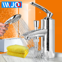 1Set Bathroom Faucet Shower with Hand Shower Head Deck Mounted Basin Faucet Modern Toilet Sink Tap Hot and Cold Water Mixer Taps single handle shower faucet mixer water tap bathroom shower basin faucet shower hand copper shower basin faucet hot and cold