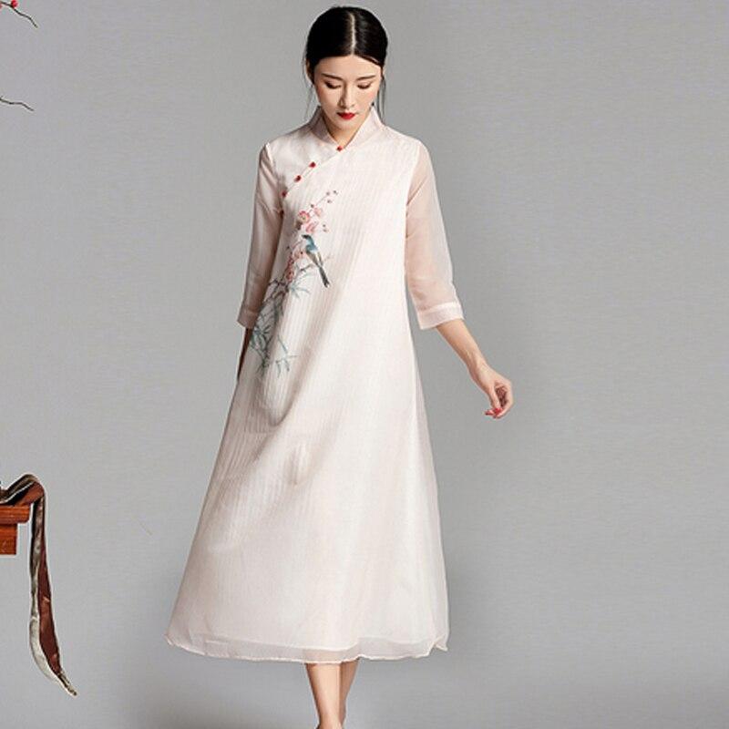 Modern Chinese vintage Runway dress designers 2018 pink print floral party elegant noble dresses summer vestido casual clothes