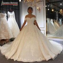 2019 designer glanzend trouwjurk voile mariage