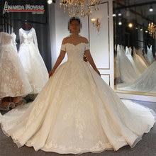 2019 tasarımcı parlak düğün elbisesi vual mariage