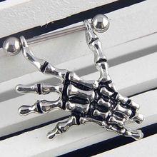 Skull Hand Shield Nipple Piercing