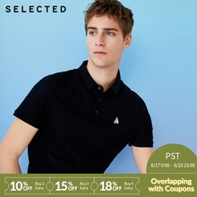 b8defa25b75d SELECTED new men's cotton embroidered casual shorts-sleeve lapel T-Shirt  S|41823Z525