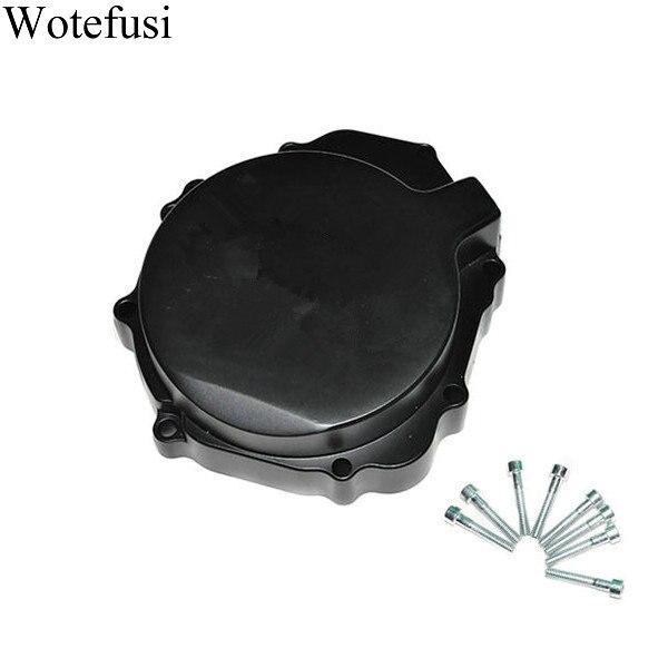 Wotefusi Black Stator Engine Covers For Suzuki GSXR600 750 2004 2005 GSXR1000 2003 2004  [MT11] for suzuki gsxr 600 750 1000 gsxr600 gsxr750 gsxr1000 2003 2017 motorcycle crankcase engine oil filler screw cover plug