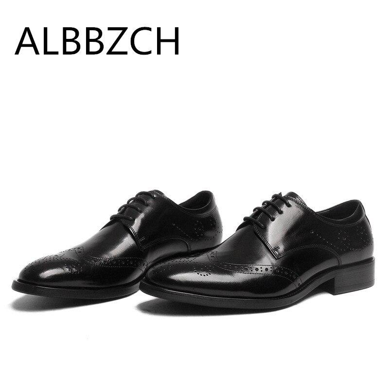 1 Büro Carving Schuhe Arbeit Männer Kleid Business Brogue Herren Schwarz Echtes Täglichen Hochzeit Qualität Hohe Leder 2 Mann UwqnadO
