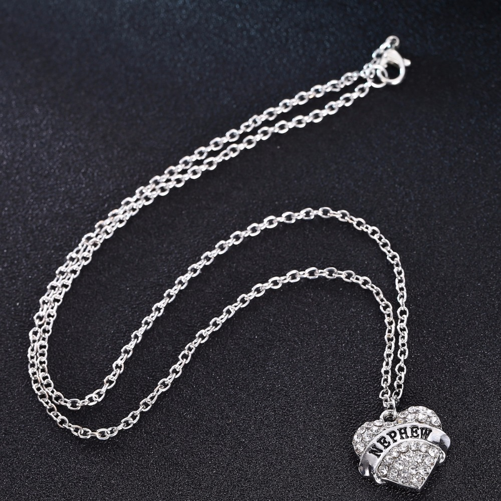 Bespmosp 24PC/Lot Wholesale Clear Crystal Trendy Nephew Chain Pendant Necklace Charm Family Love Heart Nephews Fashion Gifts