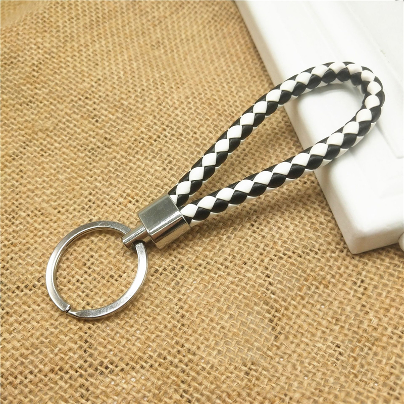 Stylish Vehicle Car Keychain Key Chain Key Ring Key Fob Leather Rope Strap Weave