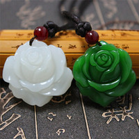 Certificate Natural Green Jade Rose Leather/beads Necklace Pendant Rope Lucky Amulet Jewelry Gemstone Gift with Box
