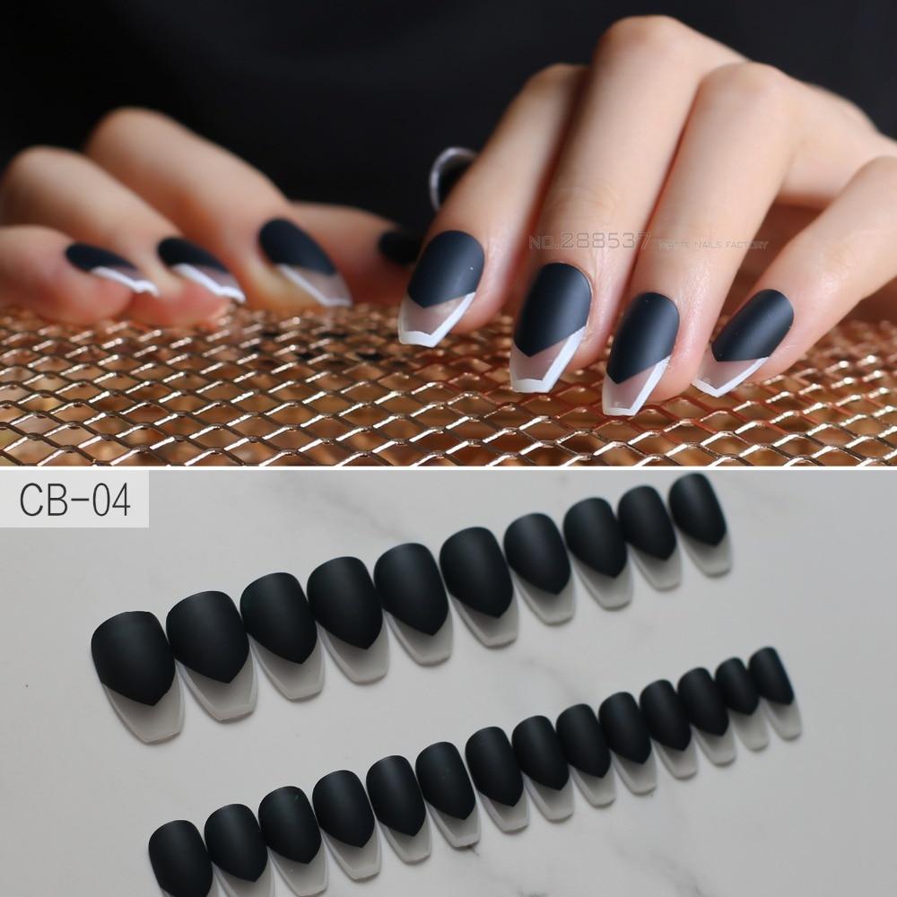 New 24Pcs Elegant Long Acrylic Coffin Nails Tips Solid Black ...