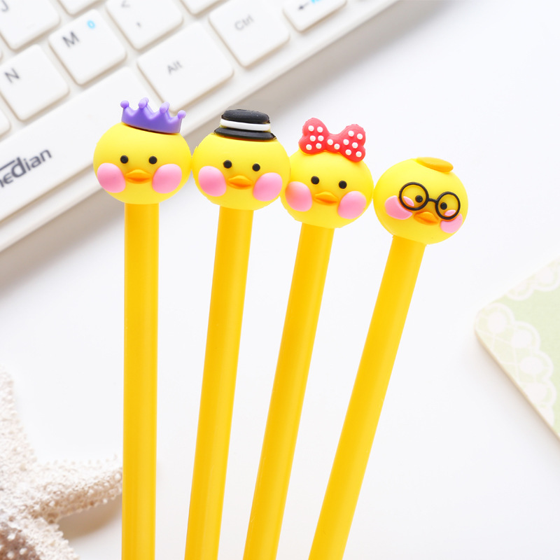 Shock-Resistant And Antimagnetic Office & School Supplies 1 Pcs Creative Cute Black Refill Neutral Pen Stationery Korean Personalized Signature Gel Pens Student Duck Water-based Pen Waterproof Pens, Pencils & Writing Supplies