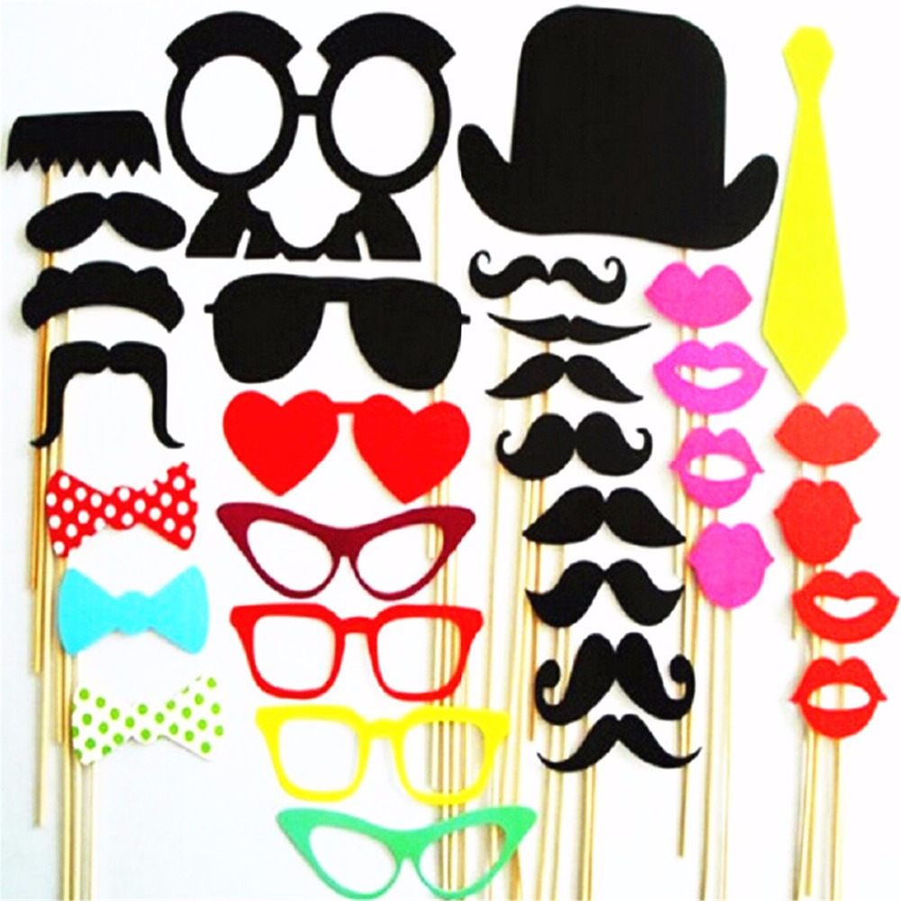 Photo Booth Props Wedding Party Decorations 34pcs Christmas Photobooth Props Mustache Wedding Favors Party Christmas Decoration