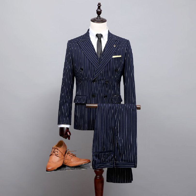 Aliexpress.com : Buy 2017 Dark Blue Pinstripe Wedding Suit Double ...