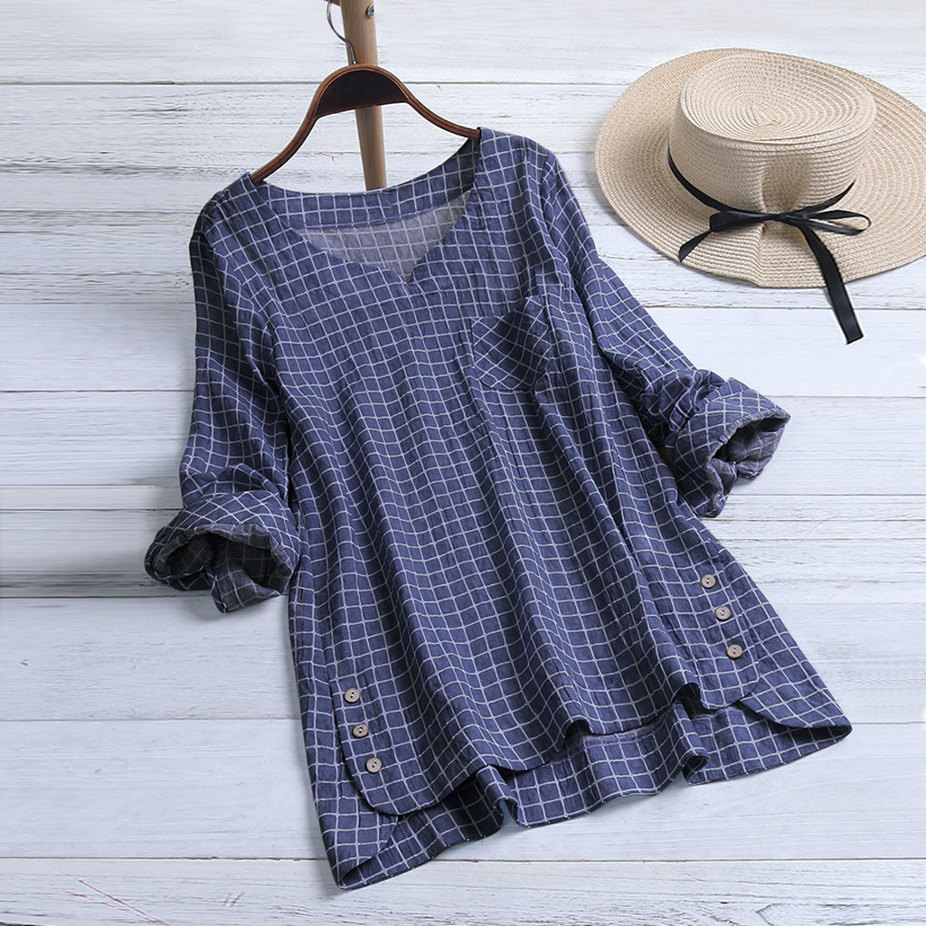 Women blouses with sleeves Casual Plus Size Cotton Tops Shirt Vintage Plaid Button Loose Blouse 2020 womens summer clothes