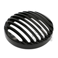 5 3 4 5 75 Black Round CNC Aluminum Headlight Grill Cover Guard For Harley Davidson