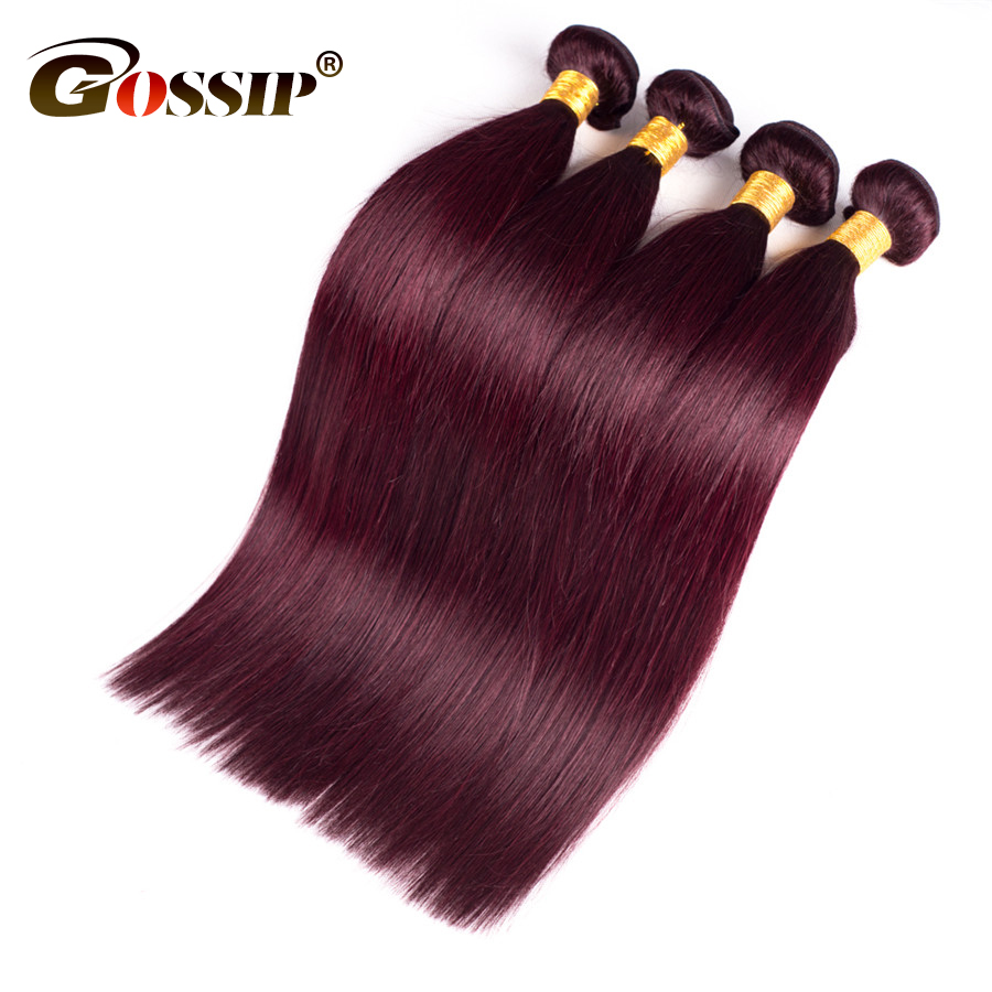 Gossip Peruvian Hair Straight 3 Bundles Deal Bourgogne 99J Rouge - Cheveux humains (noir) - Photo 1