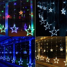 2.5M 138leds 8 Mode Star Led Curtain Icicle String Lights Romantic Holiday Christmas Light For Ramadan Wedding Garland Party