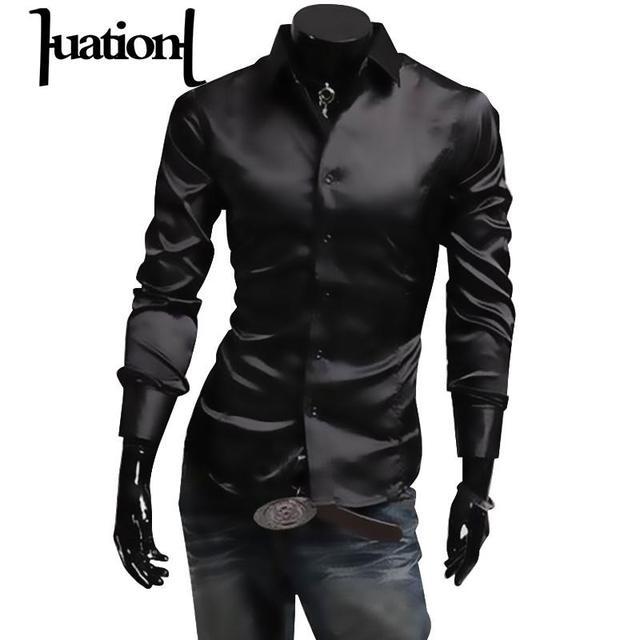 Huation Mens Silk Shirt  Fashion Brand Mens Long Sleeve Shirt Men Camisa Social Masculina Casual