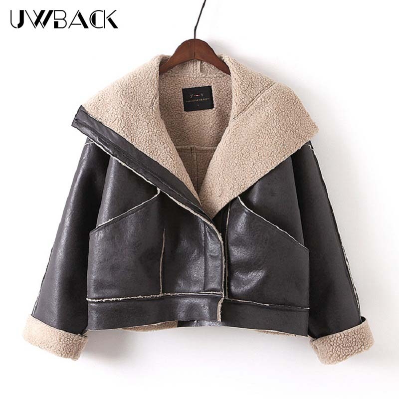 Uwback 2017 Brand Faux Fur Coat Women Short Windbreaker Leather Jacket Femme Lamb Fur Coat Mujer Turn Down Collar OB315