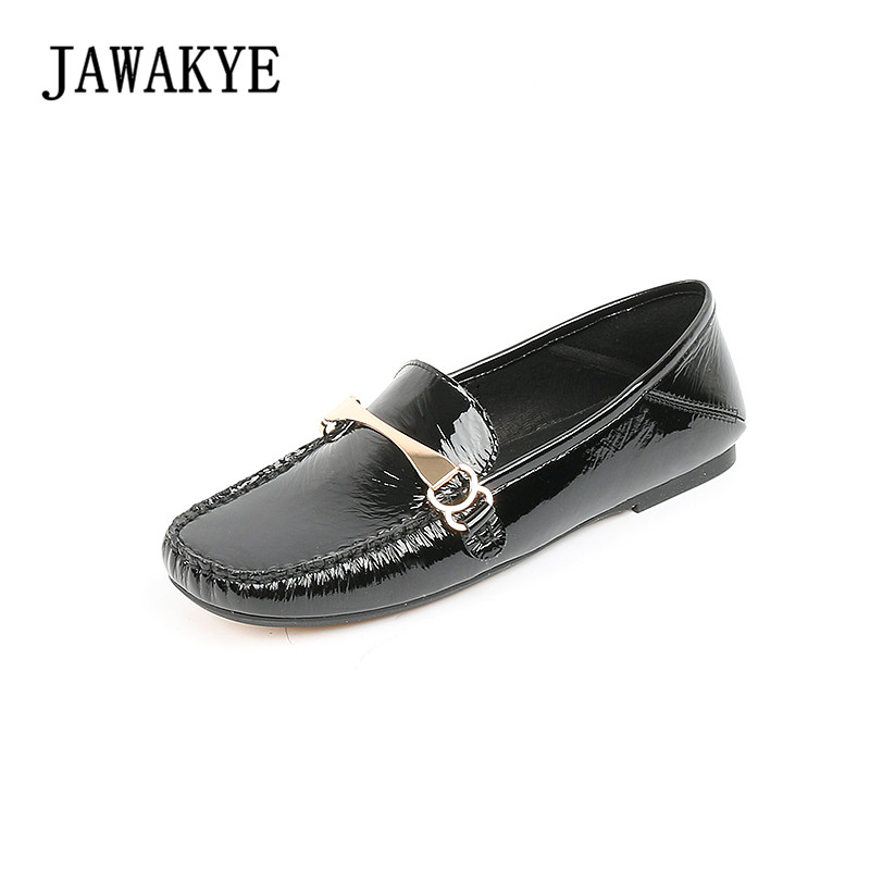 New Arrivals Genuine Patent Leather Casual Shoes Women Square Toe Flat heel Slip on Driving shoes Classic Flat Shoes Woman new 2017 spring summer women flats shoes genuine leather flat heel pointed toe black red shoes woman slip on casual flat shoes