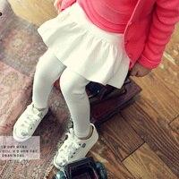 2017 Spring Autumn Girls Leggings Kids Solid White Gray Black Pink Dark Grey Fake Two Pants