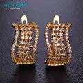 Mechosen cubic zirconia brinco para mulheres cinco linhas de cristal banhados a ouro orecchini donna cobre bijoux femme marque de luxe