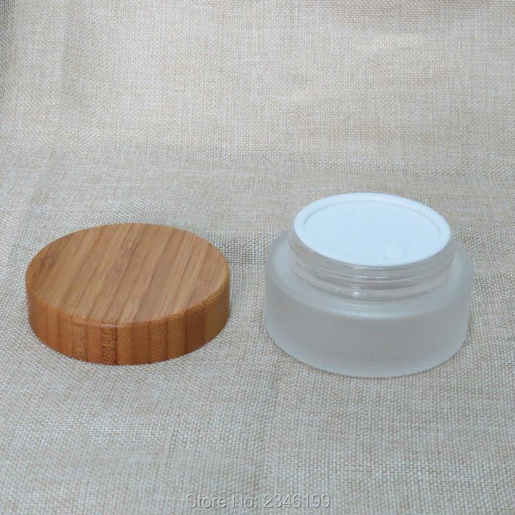 Frasco de vidrio con tapa de madera de bambú de 100g, 10 ML botella de vidrio esmerilado vacía cosméticos crema envase tapa de bambú. 10 unids/lote-in Botellas rellenables from Belleza y salud    3