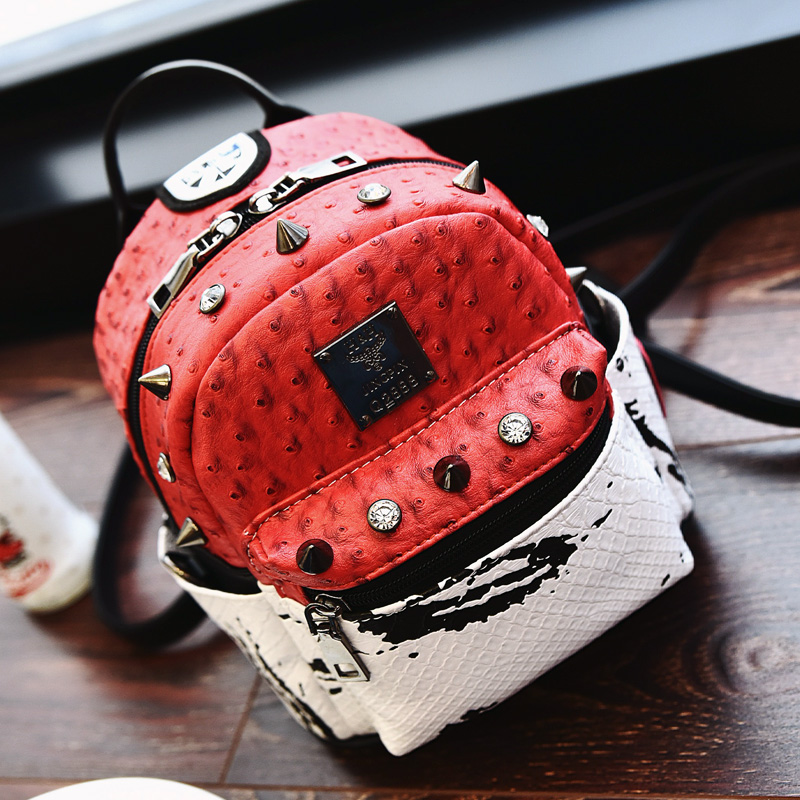 School Fashion Bag Preppy Backpack Ostrich PU Leather Girls Cute Bag Panelled Shoulder Bags Diamonds Casual Rivet Backpacks 2016 2016 new winter fashion leisure bag lady korean pu leather rivet travel backpack zipper preppy school bag plaid pattern mini bag