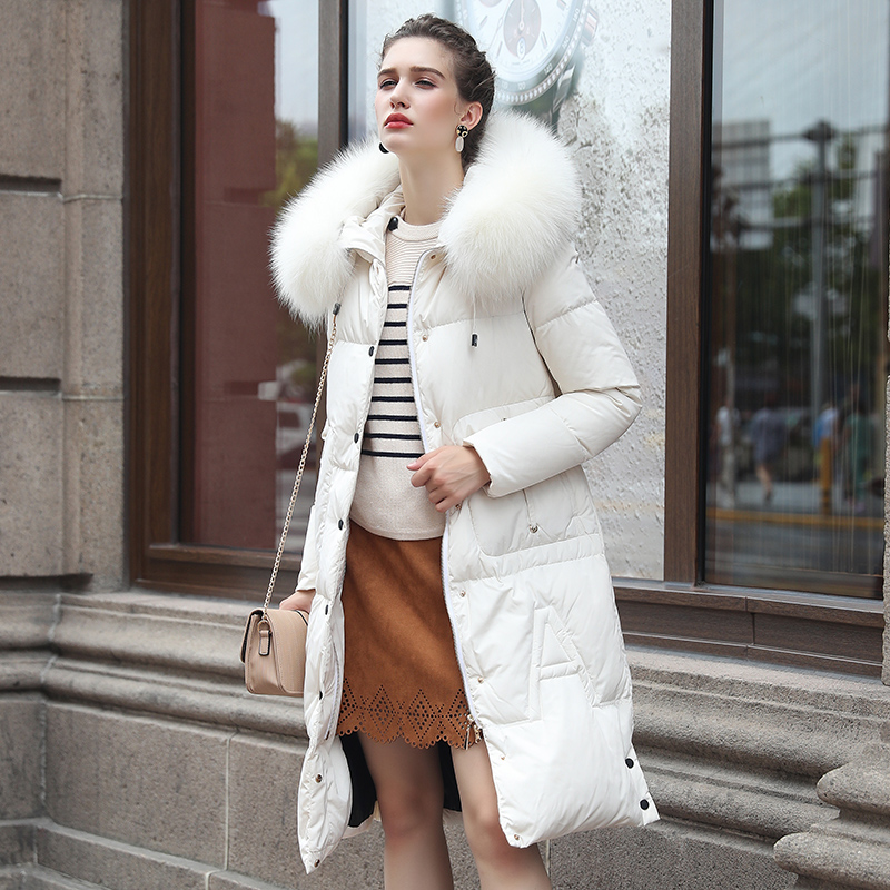 2017 New Winter High-end Fur Collar Long White Jacket Lady Solid Slim Parka Thick Full Casual Women Winter Coats Padded Jacket