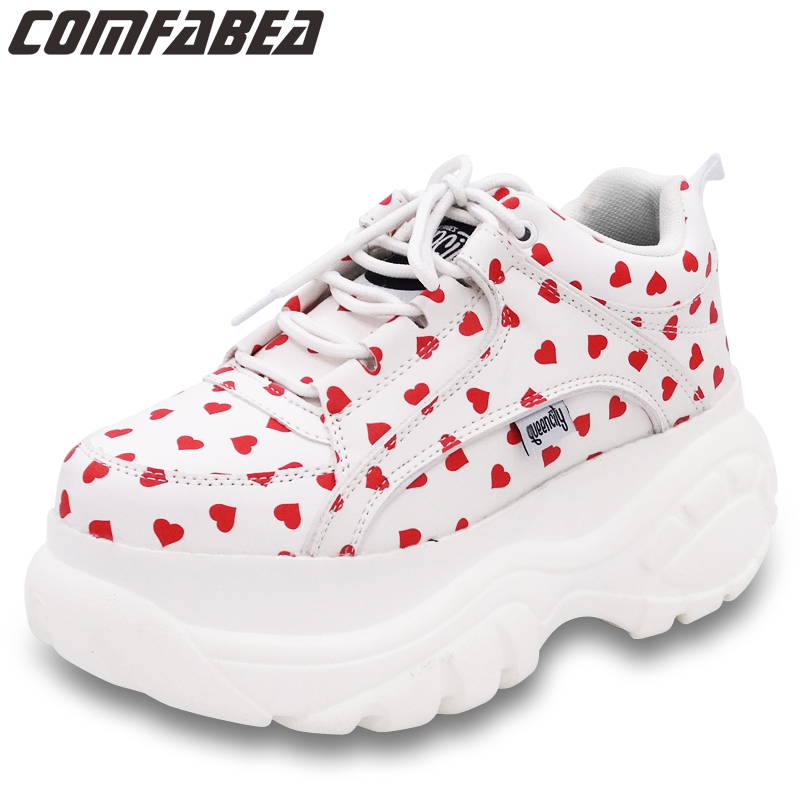 CCOMFABEA bottes d'hiver pour femmes chaussures à plate-forme loisirs bottines semelle épaisse rouge coeur à lacets chaussure