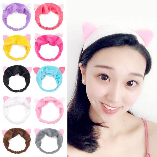 2018 Newly Lovely Cute Cat Ears Women Elastic Stretch Hairband Makeup  Headband Head Wrap 9 Style 998e3575426
