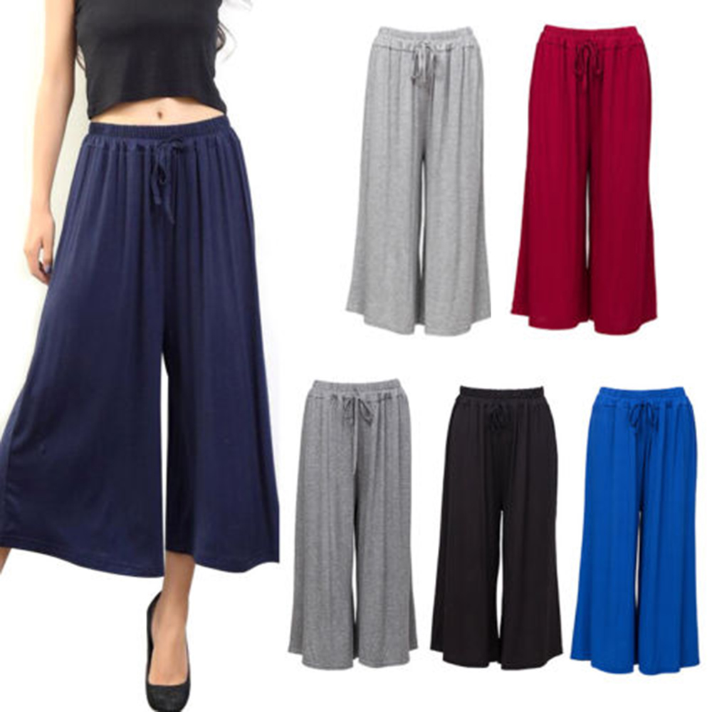 Wide     Leg     Pants   AOWOFS 2018 New Summer Women Fashion Modal Cotton High Waist Stretchy Cropped Trousers Loose   Pants     Wide     Leg     Pants