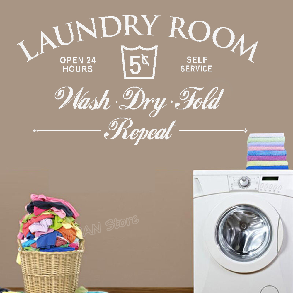Laundry Room Wash Dry Fold Wall Decal Wall Sticker Home Laundry Room Wall Art Children S Bedroom Words Phrases Decals Stickers Vinyl Art