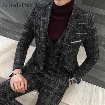 Bridalaffair 2018 New Designs Suit Men Set British Dark Grey Plaid Mens Suits Tweed Tuxedos Casual Blazer Jacket Pants Vest 3Pcs