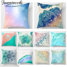 Fuwatacchi Watercolor Painting Cushion Cover Gold Blue Flower Printed Pillow for Home Sofa Wedding Decoration Pillowcase