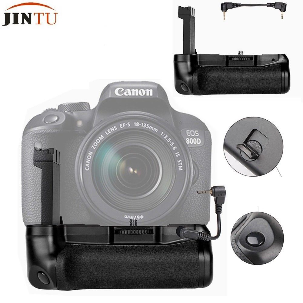 JINTU obturateur Vertical batterie support de prise en main pour CANON EOS 800D/rebelle T7i/77D/Kiss X9i DSLR appareil photo