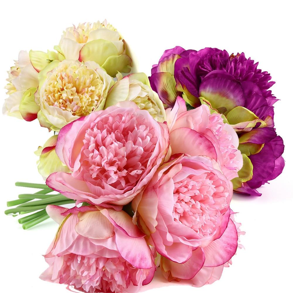 Peony Artificial Flowers For Wedding Bouquet Fake Flower Pompom Silk
