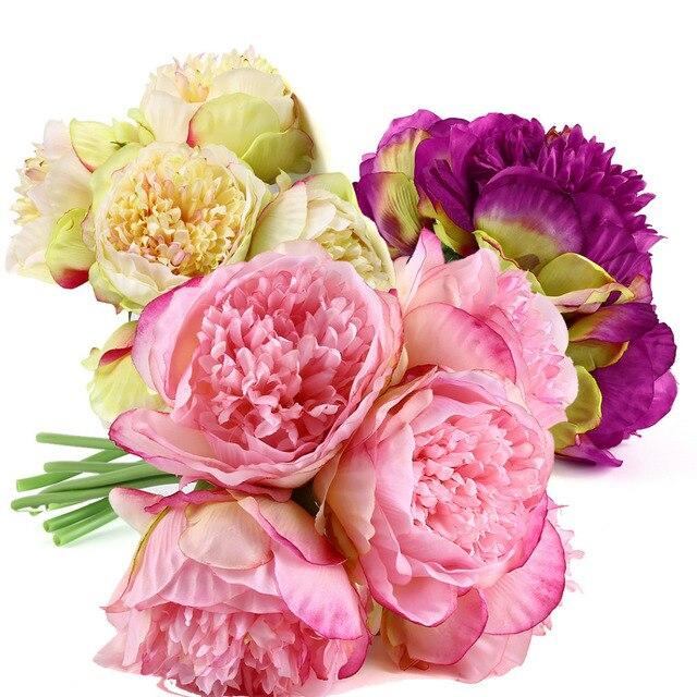 Peony Artificial Flowers For Wedding Bouquet Fake Flower pompom Silk ...