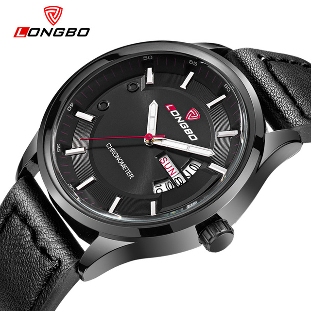LONGBO Brand Army Military Leather Sports Wristwatches Men Watches Quartz Watches Date Calendar Waterproof Relogio Masculine