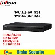Оригинал Dahua 16/32 канала 1U 16PoE 4 К и H.265 Lite сетевой видеорегистратор NVR4216-16P-4KS2/NVR4232-16P-4KS2