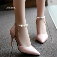 2016 Pointed High Heeled Shoes Pink Pearls Wild Shoes Night Clubs Single Buckle Shoes Women S