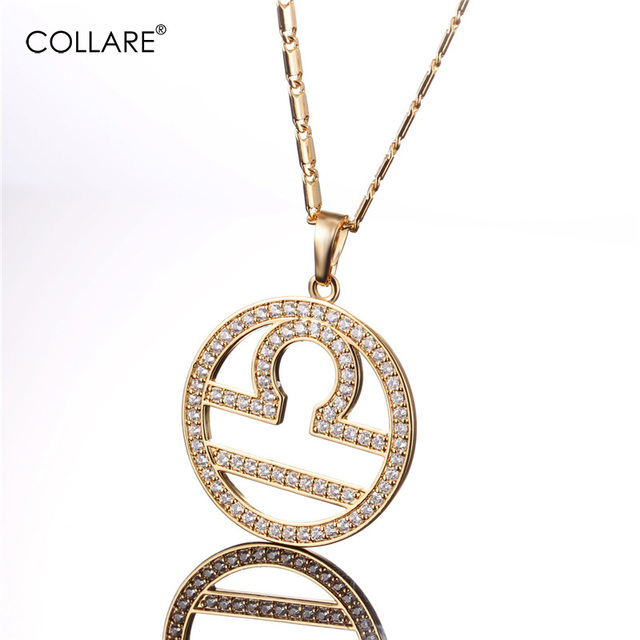 Collare New Birthday Gift Libra Zodiac Necklace Women Gold Silver Color Crystal Zirconia Pendant Men 12 Constellations P070