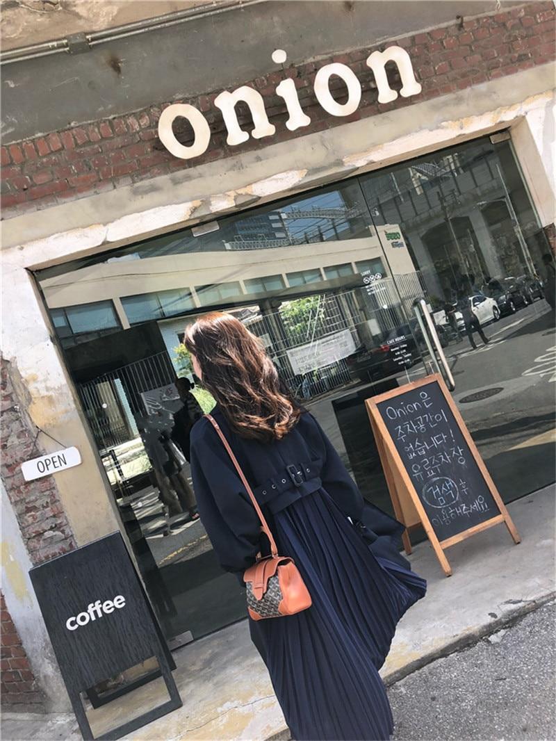 "British style Long Sleeves Autumn pleated coats women""s Long sleeve windbreaker overcoats abrigo mujer 10"