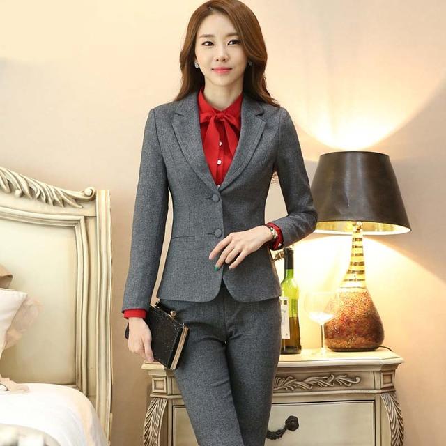 Outono e inverno nova OL commuter longo-sleeved Zhiye Zhuang terno das mulheres calças terno macacão YF61