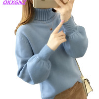 2018 New Autumn Winter Women Sweater Solid Turtleneck Lantern Sleeves Pullovers Tops Fashion Casual Loose Sweaters
