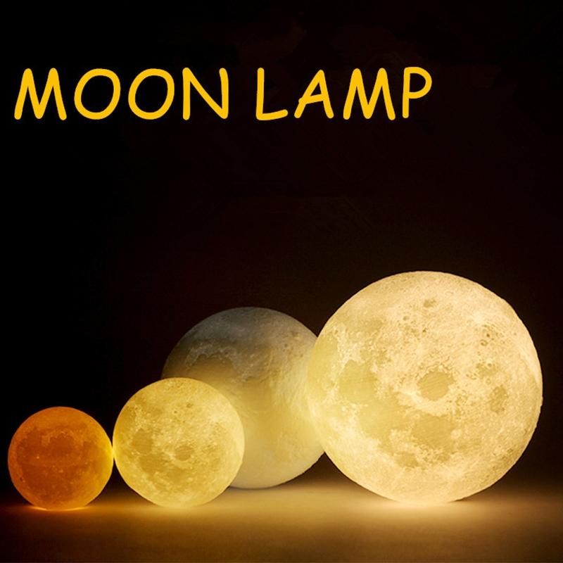 LumiParty Rechargeable 3D Print Moon Lamp 3 Color Change Touch Switch Bedroom Bookcase Night Light Home Decor Creative Gift usbrechargeable 3d print moon lamp yellow red change touch switch bedroom bookcase night light home decor creative birthday gift