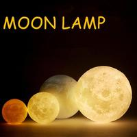 LumiParty Rechargeable 3D Print Moon Lamp 3 Color Change Touch Switch Bedroom Bookcase Night Light Home
